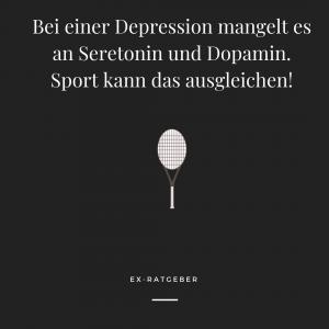Bei einer Depression mangelt es an Seretonin und Dopamin. Sport kann dies ausgleichen.
