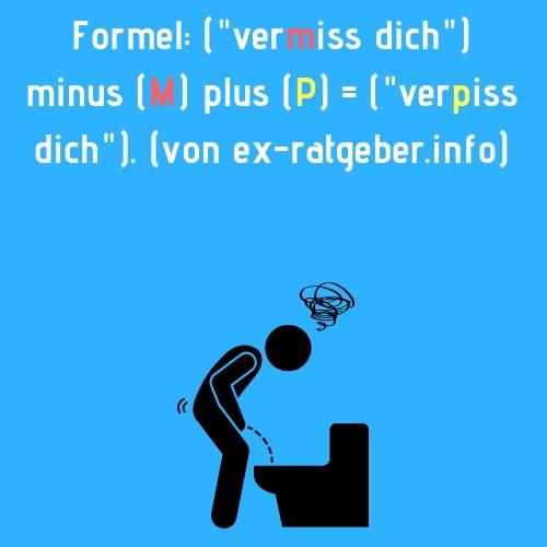 Ex Spruch - Formel (vermiss dich) minus (M) plus (P) = (verpiss dich). (von ex-ratgeber.info)