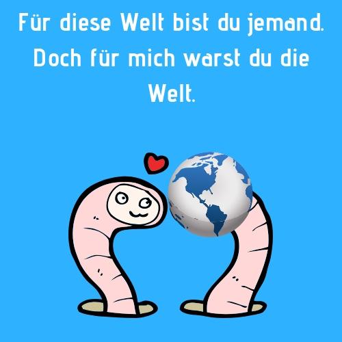 Spruch - Für diese Welt bis du jemand. Doch für mich warst du die Welt.