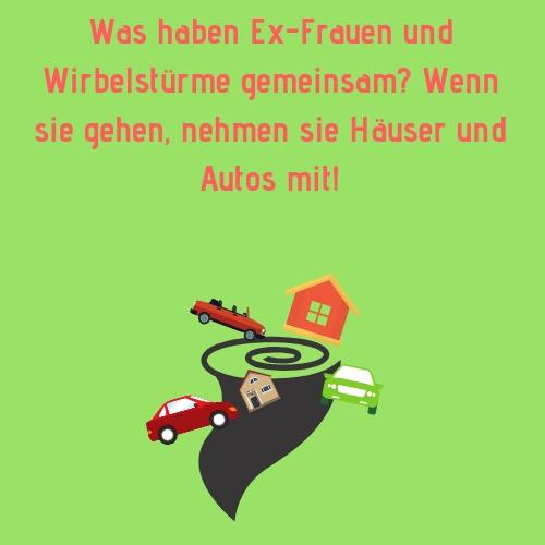 Was haben Ex-Frauen und Wirbelstürme gemeinsam Wenn sie gehen, nehmen sie Häuser und Autos mit! - Ex Spruch